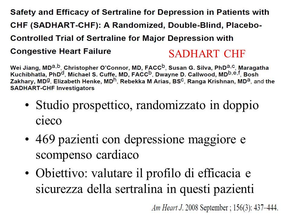Studio prospettico, randomizzato in doppio cieco 469 pazienti con depressione maggiore e scompenso cardiaco Obiettivo: valutare il profilo di efficaci