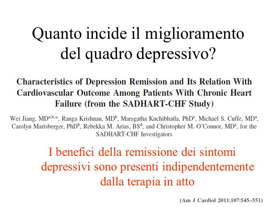 I benefici della remissione dei sintomi depressivi sono presenti indipendentemente dalla terapia in atto Quanto incide il miglioramento del quadro dep