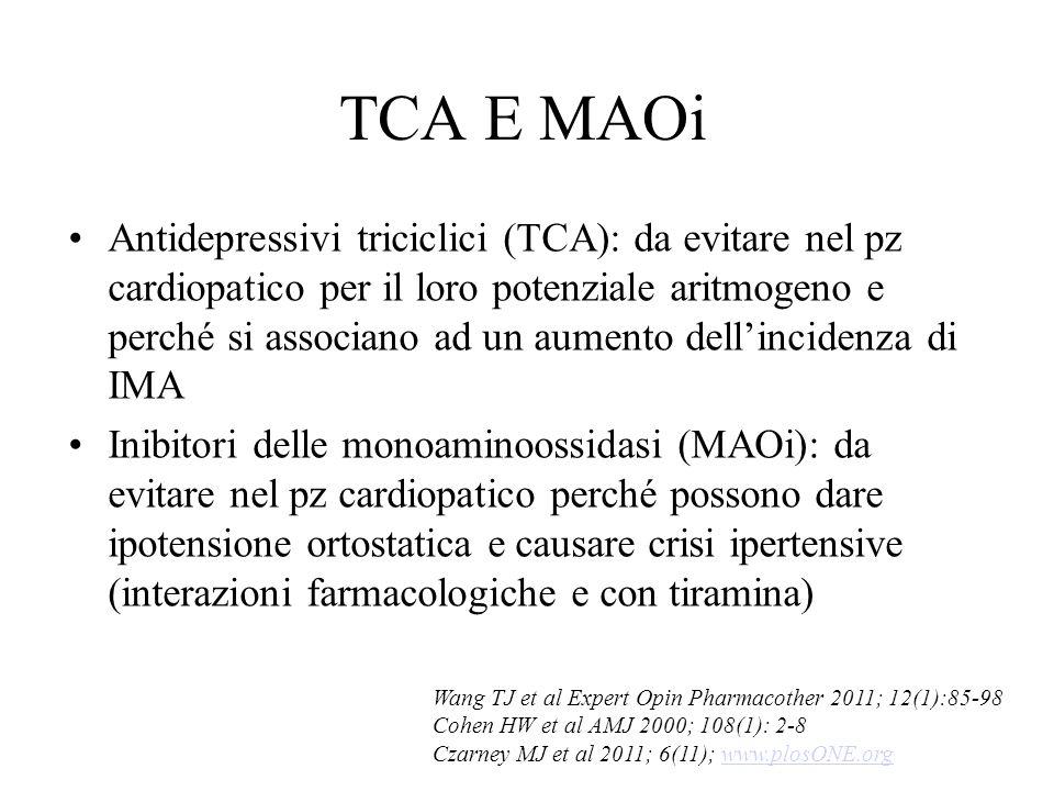 TCA E MAOi Antidepressivi triciclici (TCA): da evitare nel pz cardiopatico per il loro potenziale aritmogeno e perché si associano ad un aumento dell'