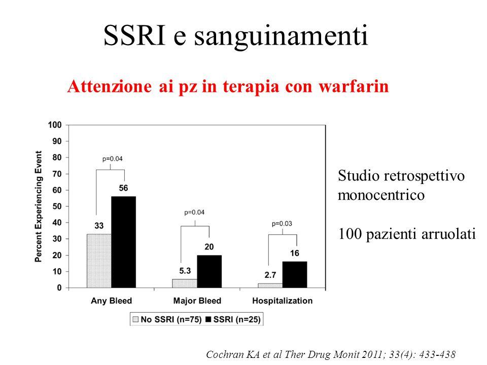 SSRI e sanguinamenti Attenzione ai pz in terapia con warfarin Cochran KA et al Ther Drug Monit 2011; 33(4): 433-438 Studio retrospettivo monocentrico