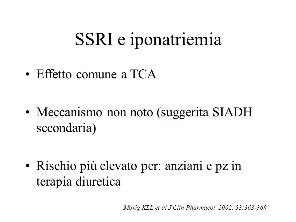 SSRI e iponatriemia Effetto comune a TCA Meccanismo non noto (suggerita SIADH secondaria) Rischio più elevato per: anziani e pz in terapia diuretica M