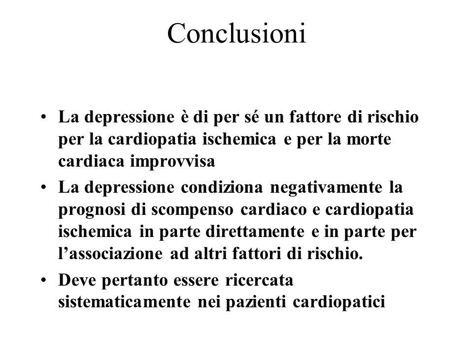 Conclusioni La depressione è di per sé un fattore di rischio per la cardiopatia ischemica e per la morte cardiaca improvvisa La depressione condiziona