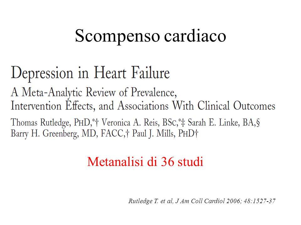 Scompenso cardiaco Metanalisi di 36 studi Rutledge T. et al, J Am Coll Cardiol 2006; 48:1527-37