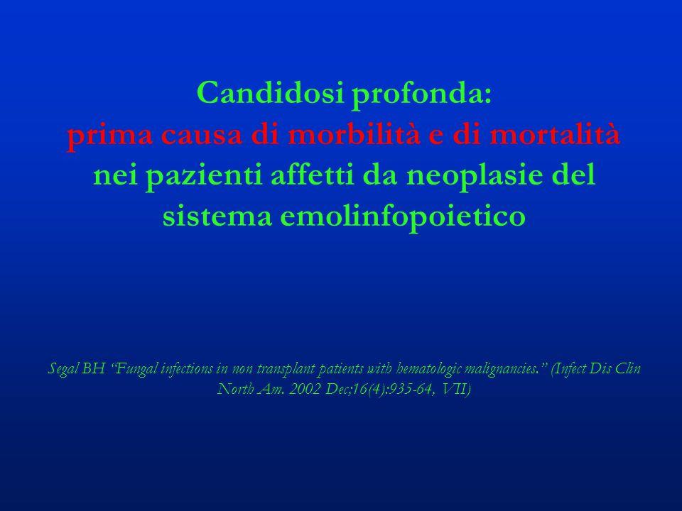 """Candidosi profonda: prima causa di morbilità e di mortalità nei pazienti affetti da neoplasie del sistema emolinfopoietico Segal BH """"Fungal infections"""