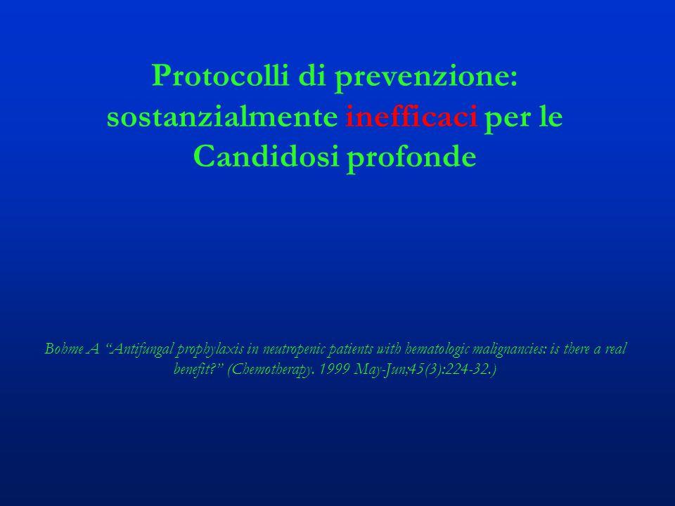 Protocolli di prevenzione: sostanzialmente inefficaci per le Candidosi profonde Bohme A Antifungal prophylaxis in neutropenic patients with hematologic malignancies: is there a real benefit? (Chemotherapy.