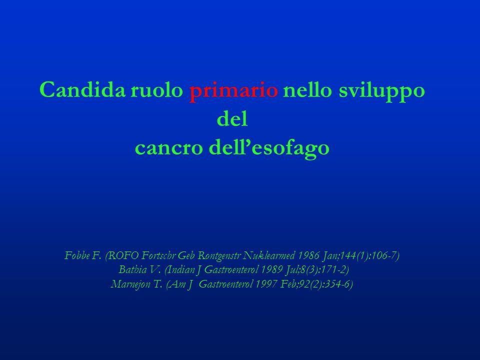 Candida ruolo primario nello sviluppo del cancro dell'esofago Fobbe F. (ROFO Fortschr Geb Rontgenstr Nuklearmed 1986 Jan;144(1):106-7) Bathia V. (Indi