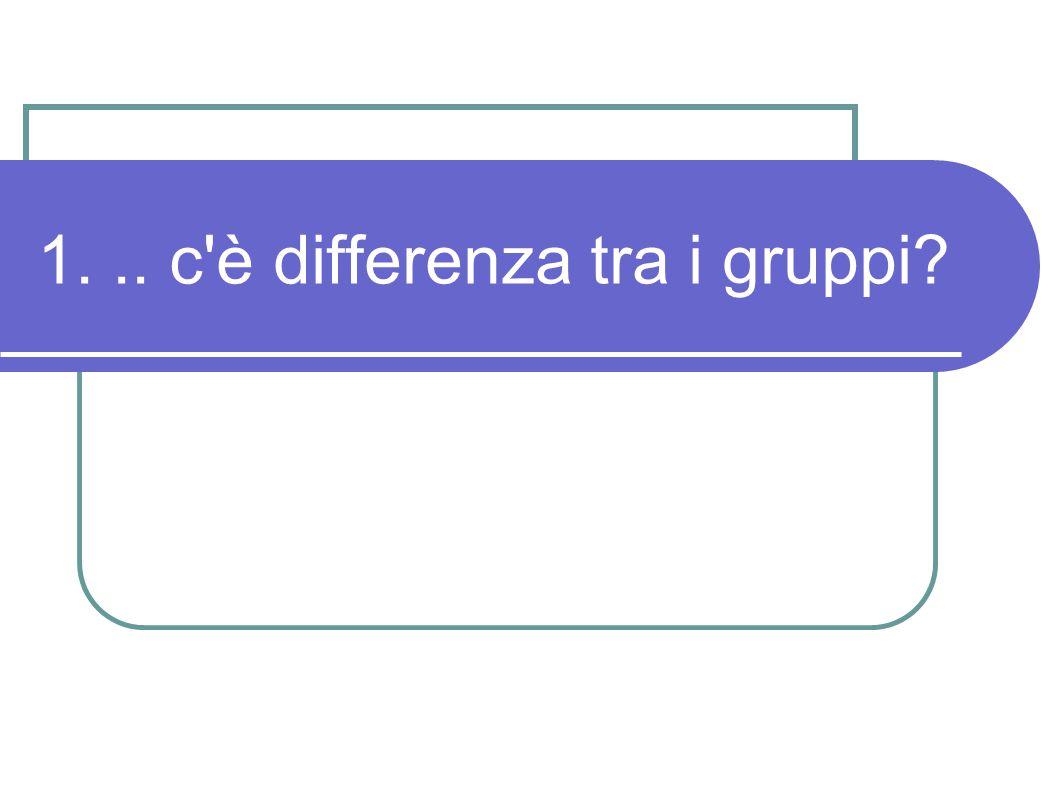 1... c'è differenza tra i gruppi?