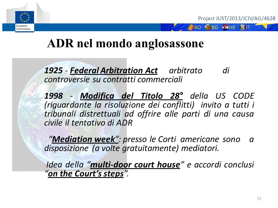 Project JUST/2013/JCIV/AG/4628 15 ADR nel mondo anglosassone 1925 - Federal Arbitration Act arbitrato di controversie su contratti commerciali 1998 -