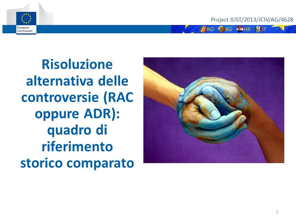 Project JUST/2013/JCIV/AG/4628 2 Risoluzione alternativa delle controversie (RAC oppure ADR): quadro di riferimento storico comparato