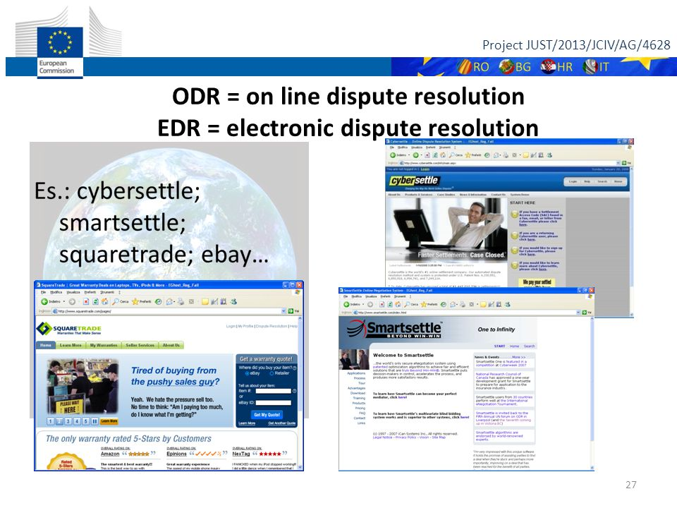 Project JUST/2013/JCIV/AG/4628 27 ODR = on line dispute resolution EDR = electronic dispute resolution