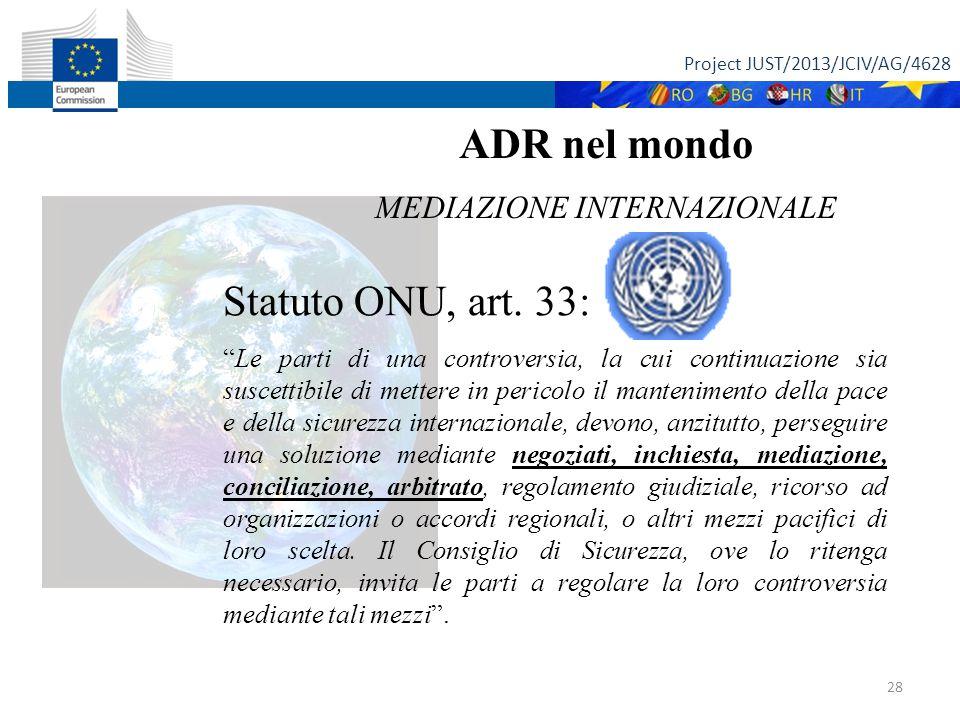 Project JUST/2013/JCIV/AG/4628 28 ADR nel mondo MEDIAZIONE INTERNAZIONALE Statuto ONU, art.