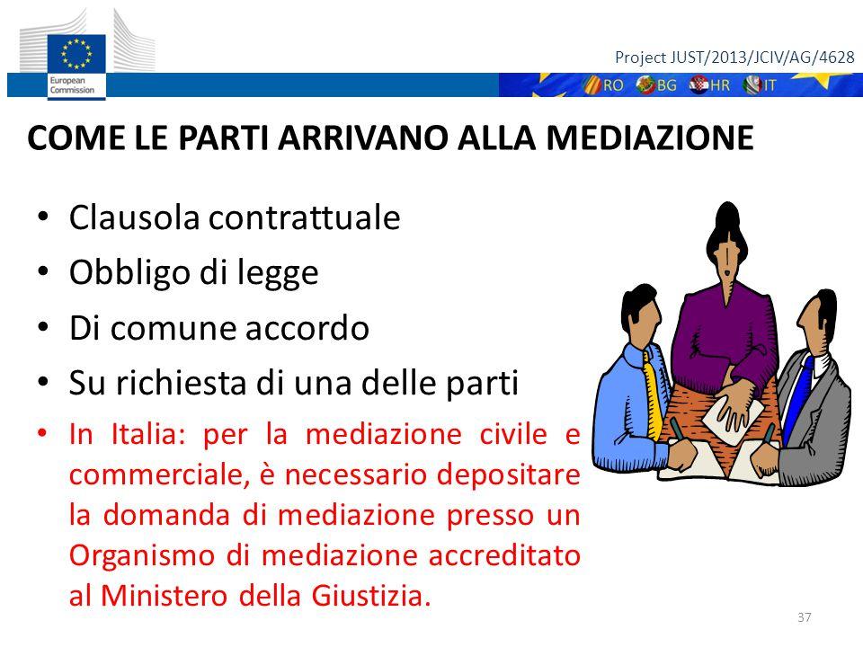 Project JUST/2013/JCIV/AG/4628 37 COME LE PARTI ARRIVANO ALLA MEDIAZIONE Clausola contrattuale Obbligo di legge Di comune accordo Su richiesta di una delle parti In Italia: per la mediazione civile e commerciale, è necessario depositare la domanda di mediazione presso un Organismo di mediazione accreditato al Ministero della Giustizia.