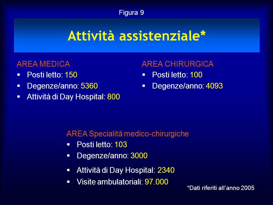 Attività assistenziale* AREA MEDICA  Posti letto: 150  Degenze/anno: 5360  Attività di Day Hospital: 800 AREA CHIRURGICA  Posti letto: 100  Degen
