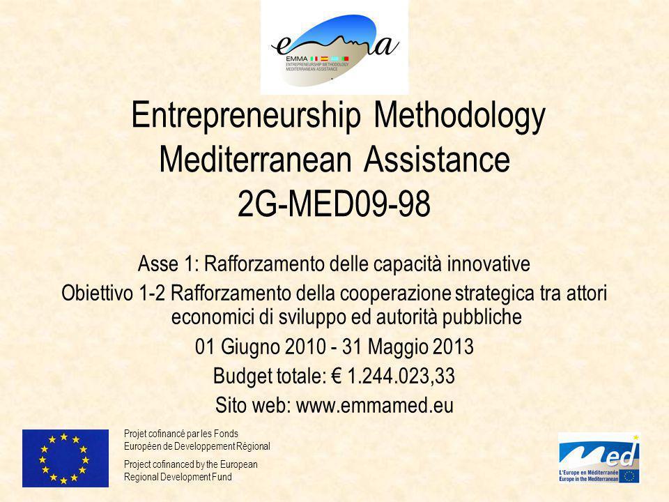 EMMA Entrepreneurship Methodology Mediterranean Assistance 2G-MED09-98 Asse 1: Rafforzamento delle capacità innovative Obiettivo 1-2 Rafforzamento della cooperazione strategica tra attori economici di sviluppo ed autorità pubbliche 01 Giugno 2010 - 31 Maggio 2013 Budget totale: € 1.244.023,33 Sito web: www.emmamed.eu Projet cofinancé par les Fonds Européen de Developpement Régional Project cofinanced by the European Regional Development Fund