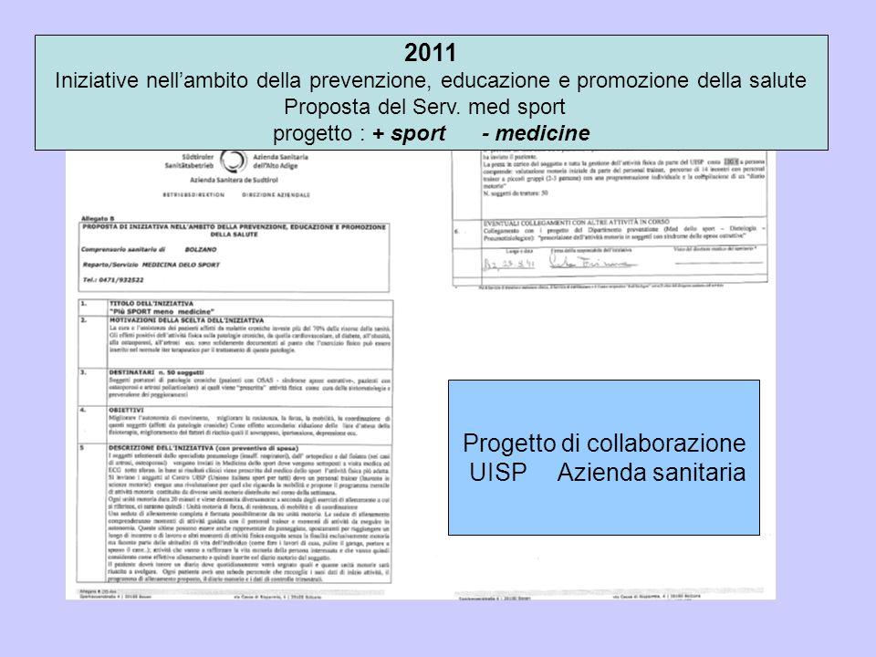 2011 Iniziative nell'ambito della prevenzione, educazione e promozione della salute Proposta del Serv. med sport progetto : + sport - medicine Progett