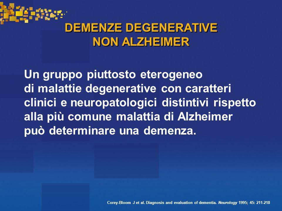 DEMENZE DEGENERATIVE NON ALZHEIMER Un gruppo piuttosto eterogeneo di malattie degenerative con caratteri clinici e neuropatologici distintivi rispetto alla più comune malattia di Alzheimer può determinare una demenza.