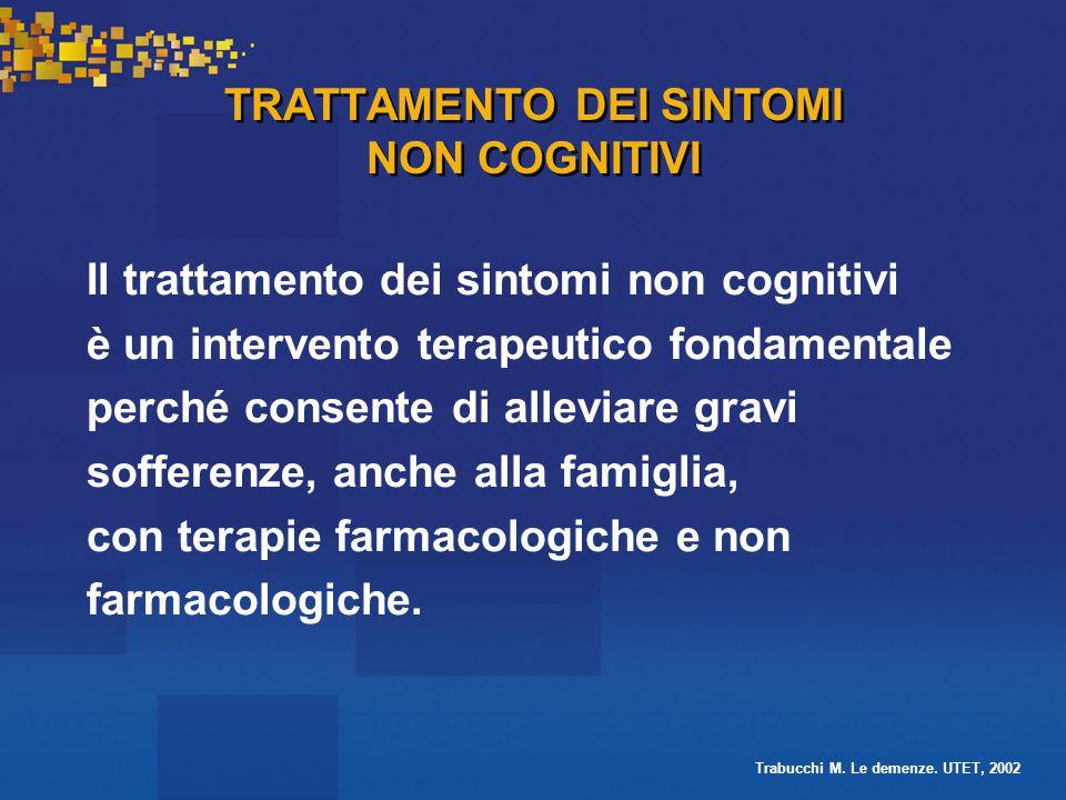 TRATTAMENTO DEI SINTOMI NON COGNITIVI Il trattamento dei sintomi non cognitivi è un intervento terapeutico fondamentale perché consente di alleviare gravi sofferenze, anche alla famiglia, con terapie farmacologiche e non farmacologiche.
