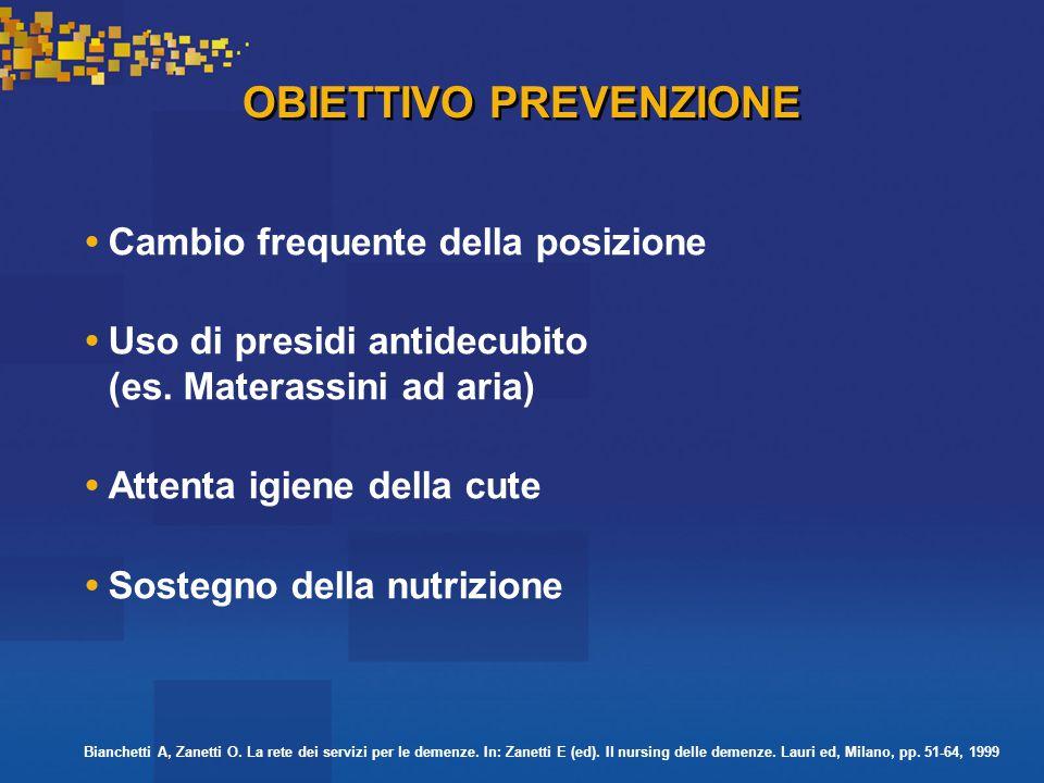 OBIETTIVO PREVENZIONE Cambio frequente della posizione Uso di presidi antidecubito (es.