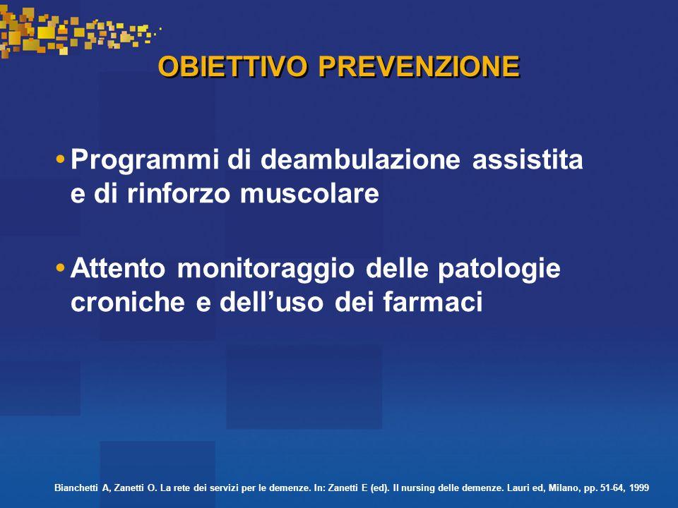OBIETTIVO PREVENZIONE Programmi di deambulazione assistita e di rinforzo muscolare Attento monitoraggio delle patologie croniche e dell'uso dei farmaci Bianchetti A, Zanetti O.
