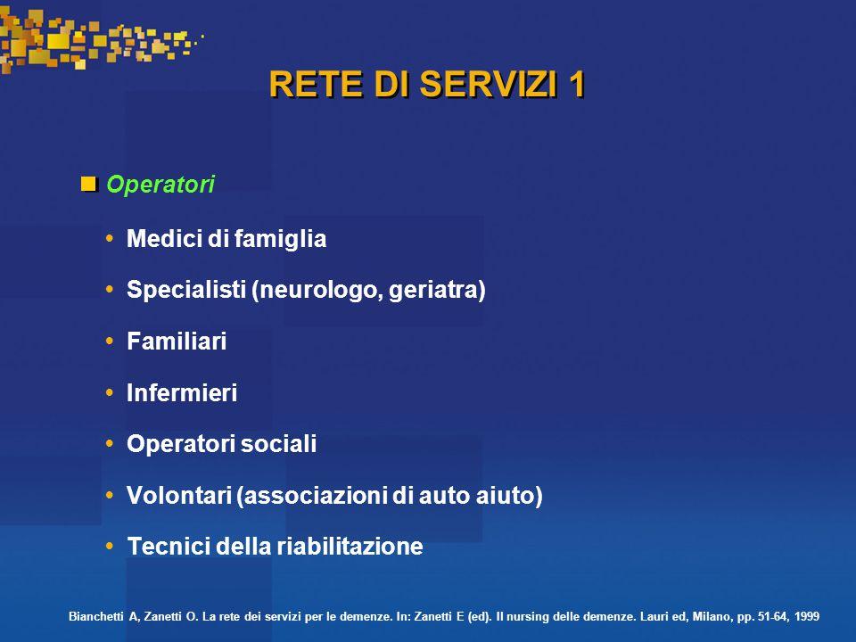 RETE DI SERVIZI 1 OperatoriMedici di famiglia Specialisti (neurologo, geriatra) Familiari Infermieri Operatori sociali Volontari (associazioni di auto aiuto) Tecnici della riabilitazione Bianchetti A, Zanetti O.