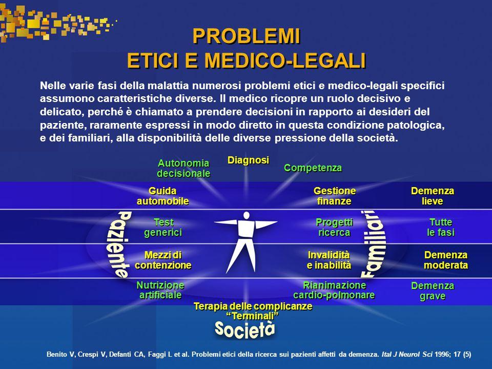 PROBLEMI ETICI E MEDICO-LEGALI Nelle varie fasi della malattia numerosi problemi etici e medico-legali specifici assumono caratteristiche diverse.
