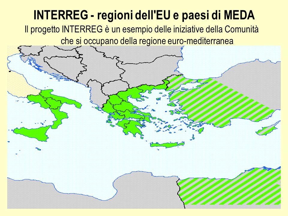 INTERREG - regioni dell EU e paesi di MEDA Il progetto INTERREG è un esempio delle iniziative della Comunità che si occupano della regione euro-mediterranea