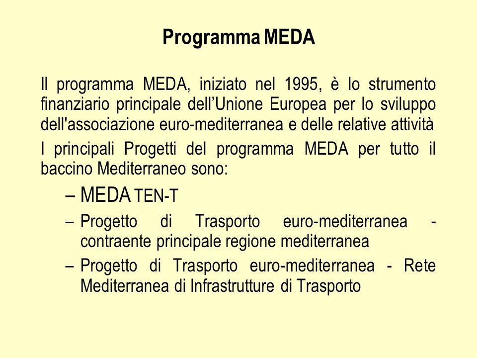 Programma MEDA Il programma MEDA, iniziato nel 1995, è lo strumento finanziario principale dell'Unione Europea per lo sviluppo dell associazione euro-mediterranea e delle relative attività I principali Progetti del programma MEDA per tutto il baccino Mediterraneo sono: –MEDA TEN-T –Progetto di Trasporto euro-mediterranea - contraente principale regione mediterranea –Progetto di Trasporto euro-mediterranea - Rete Mediterranea di Infrastrutture di Trasporto