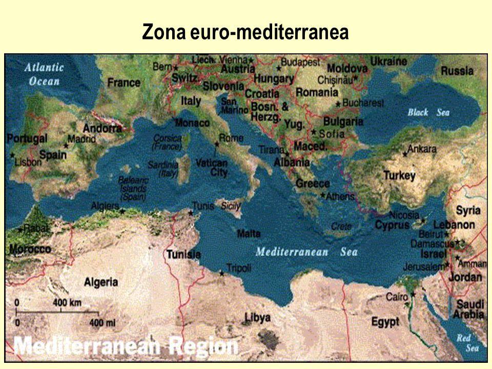 Il Processo: Associazione euro-mediterranea L associazione euro-mediterranea inizia al Congresso di Barcellona (27- il 28 novembre 1995) e interessa: – 15 stati membri dell'Unione Europea – 12 soci del Mediterraneo del Sud: Algeria, Egitto, Israele, Giordania, Libano, Marocco, Autorità Palestinese, Siria, Tunisia, Turchia e dal 2004 Cipro e Malta PER Creare, entro 2010, una zona di libero scambio nella area e favorire lo sviluppo delle risorse umane e l'integrazione culturale