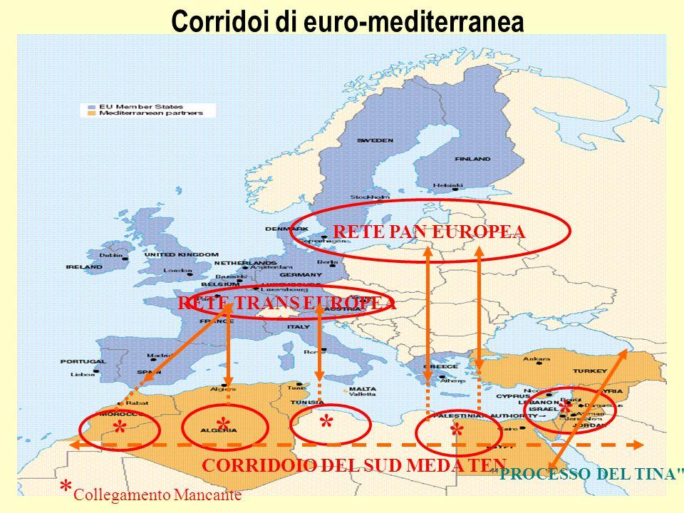 Corridoi di euro-mediterranea RETE PAN EUROPEA RETE TRANS EUROPEA * * * * CORRIDOIO DEL SUD MEDA TEN PROCESSO DEL TINA * * Collegamento Mancante