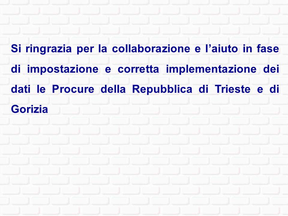 Si ringrazia per la collaborazione e l'aiuto in fase di impostazione e corretta implementazione dei dati le Procure della Repubblica di Trieste e di Gorizia