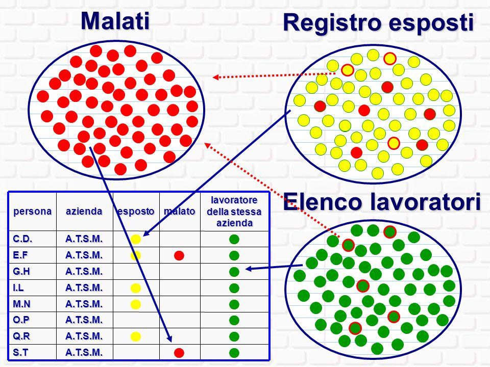 Obiettivo : mappatura degli esposti in funzione dei luoghi di esposizione e dei malati Azienda B: Elenco lavoratori Elenco iscritti LR 22 Elenco malati Azienda C: Elenco ….