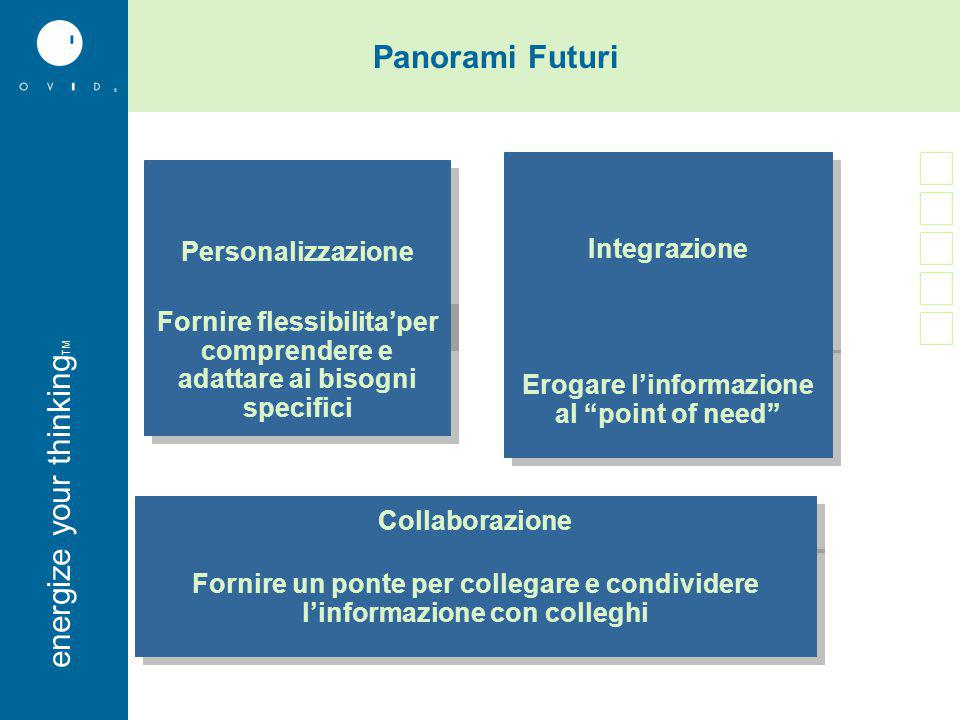 energise your thinkingenergize your thinking TM Microsoft Office 2003 Research pane Ovid e' stata contattata da by Microsoft Integrare con Microsoft Office 2003 –Utenti selezionano termini da MS Office Word, Power Point, Outlook e altre applicazioni –Usano la funzionalita' look up per iniziare automaticamente una Ovid Session – Fingertip access a milioni di articoli di ricerca Medica Consente ai medici di concentrarsi sulla loro missione: la cura dei pazienti.