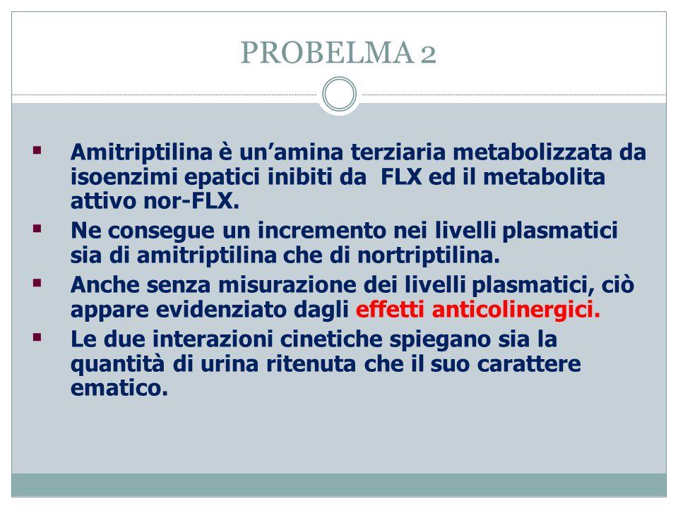 PROBELMA 2  Amitriptilina è un'amina terziaria metabolizzata da isoenzimi epatici inibiti da FLX ed il metabolita attivo nor-FLX.  Ne consegue un in