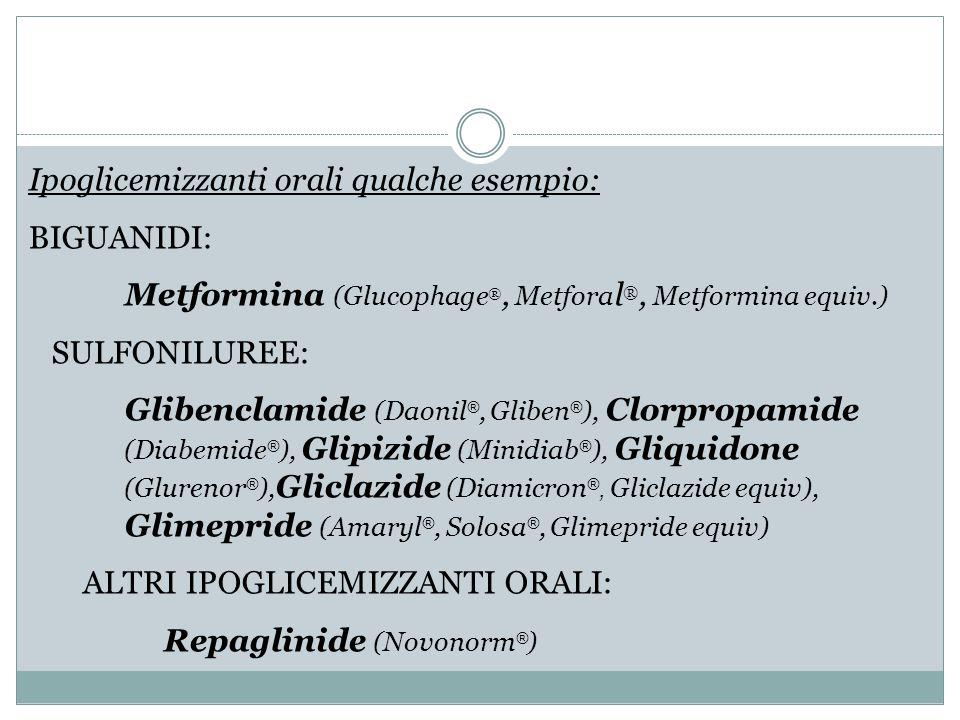 Ipoglicemizzanti orali qualche esempio: BIGUANIDI: Metformina (Glucophage ®, Metfora l ®, Metformina equiv.) SULFONILUREE: Glibenclamide (Daonil ®, Gl