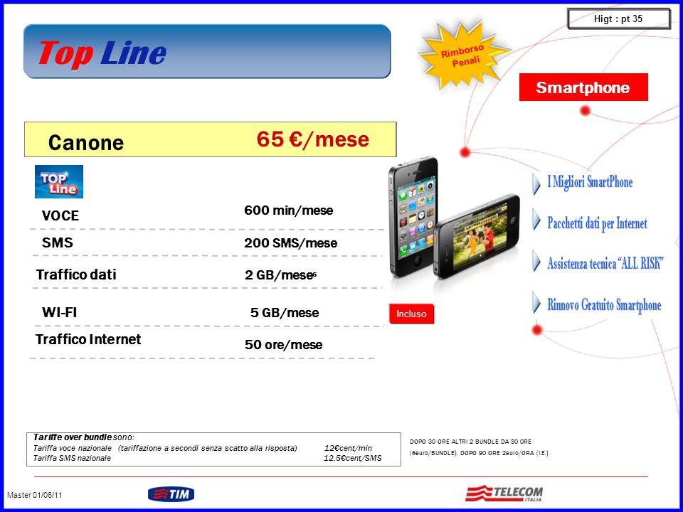 GRUPPO TELECOM ITALIA Tariffe over bundle sono: Tariffa voce nazionale (tariffazione a secondi senza scatto alla risposta) 12€cent/min Tariffa SMS nazionale 12,5€cent/SMS VOCE WI-FI 600 min/mese 200 SMS/mese SMS Traffico dati 2 GB/mese 6 5 GB/mese Canone 65 €/mese Traffico Internet 50 ore/mese DOPO 30 ORE ALTRI 2 BUNDLE DA 30 0RE (8euro/BUNDLE).