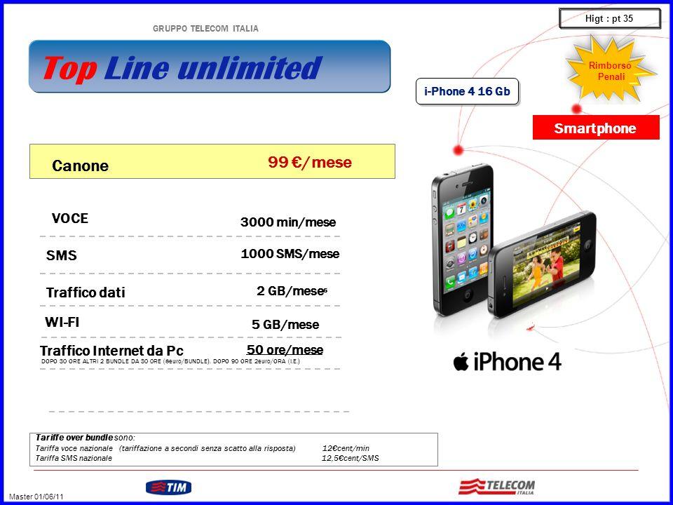 GRUPPO TELECOM ITALIA Tariffe over bundle sono: Tariffa voce nazionale (tariffazione a secondi senza scatto alla risposta) 12€cent/min Tariffa SMS nazionale 12,5€cent/SMS VOCE WI-FI 3000 min/mese 1000 SMS/mese SMS Traffico dati 2 GB/mese 6 5 GB/mese Canone 99 €/mese Traffico Internet da Pc 50 ore/mese i-Phone 4 16 Gb DOPO 30 ORE ALTRI 2 BUNDLE DA 30 0RE (8euro/BUNDLE).