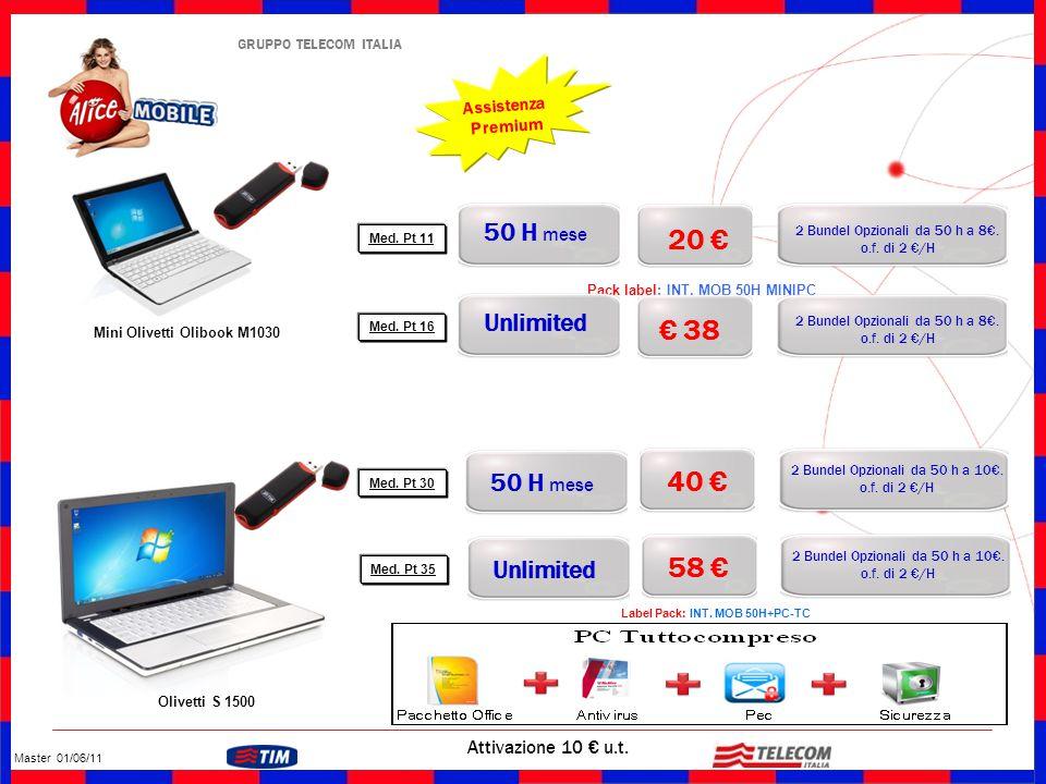 GRUPPO TELECOM ITALIA 20 € Attivazione 10 € u.t. Mini Olivetti Olibook M1030 Assistenza Premium Pack label: INT. MOB 50H MINIPC 2 Bundel Opzionali da