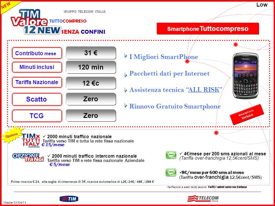 GRUPPO TELECOM ITALIA – Tariffazione a scatti da 60 secondi Tutti i valori sono IVA Esclusa Prima ricarica € 24, alla soglia di rimanenza di 5€, ricar