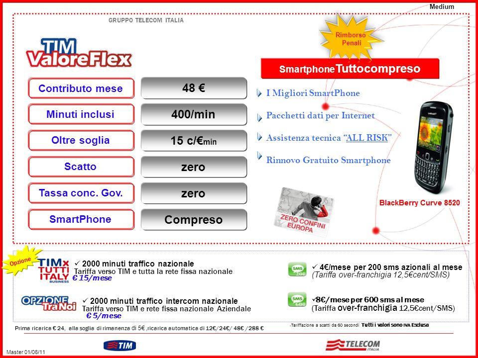 GRUPPO TELECOM ITALIA Medium – Tariffazione a scatti da 60 secondi Tutti i valori sono IVA Esclusa Prima ricarica € 24, alla soglia di rimanenza di 5€, ricarica automatica di 12€/24€/ 48€ /288 € 4€/mese per 200 sms azionali al mese (Tariffa over-franchigia 12,5€cent/SMS) 8€/mese per 600 sms al mese (Tariffa over-franchigia 12,5€cent/SMS) 2000 minuti traffico nazionale Tariffa verso TIM e tutta la rete fissa nazionale € 15/mese Opzione 2000 minuti traffico intercom nazionale Tariffa verso TIM e rete fissa nazionale Aziendale 48 € Contributo mese Minuti inclusi 400/min Oltre soglia 15 c/€ min Scatto zero Tassa conc.