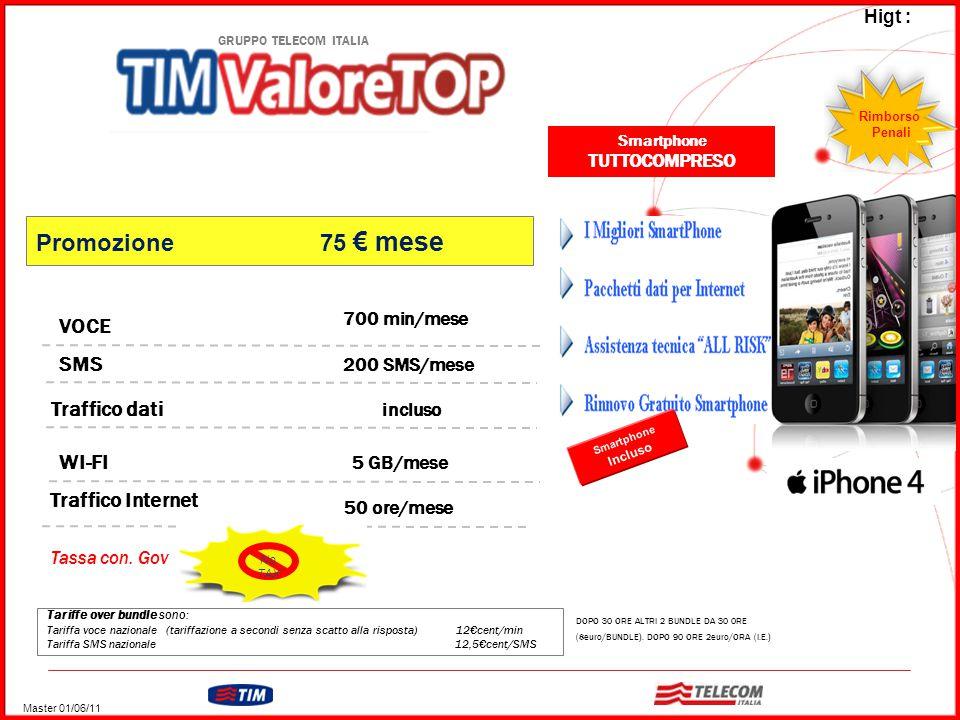 GRUPPO TELECOM ITALIA Tariffe over bundle sono: Tariffa voce nazionale (tariffazione a secondi senza scatto alla risposta) 12€cent/min Tariffa SMS nazionale 12,5€cent/SMS VOCE WI-FI 700 min/mese 200 SMS/mese SMS Traffico dati incluso 5 GB/mese Traffico Internet 50 ore/mese DOPO 30 ORE ALTRI 2 BUNDLE DA 30 0RE (8euro/BUNDLE).
