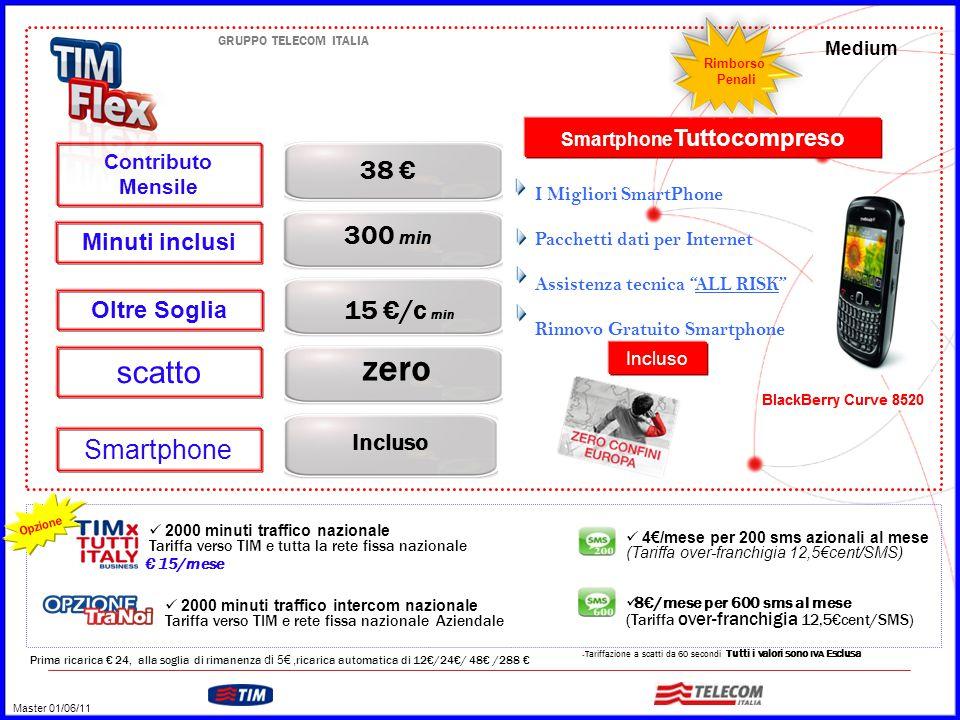 GRUPPO TELECOM ITALIA 38 € Incluso 300 min Oltre Soglia Smartphone Minuti inclusi Contributo Mensile 15 €/c min zero scatto Medium – Tariffazione a scatti da 60 secondi Tutti i valori sono IVA Esclusa Prima ricarica € 24, alla soglia di rimanenza di 5€, ricarica automatica di 12€/24€/ 48€ /288 € 4€/mese per 200 sms azionali al mese (Tariffa over-franchigia 12,5€cent/SMS) 8€/mese per 600 sms al mese (Tariffa over-franchigia 12,5€cent/SMS) 2000 minuti traffico nazionale Tariffa verso TIM e tutta la rete fissa nazionale € 15/mese Opzione 2000 minuti traffico intercom nazionale Tariffa verso TIM e rete fissa nazionale Aziendale I Migliori SmartPhone Pacchetti dati per Internet Assistenza tecnica ALL RISK Rinnovo Gratuito Smartphone Smartphone Tuttocompreso Rimborso Penali Master 01/06/11 Incluso
