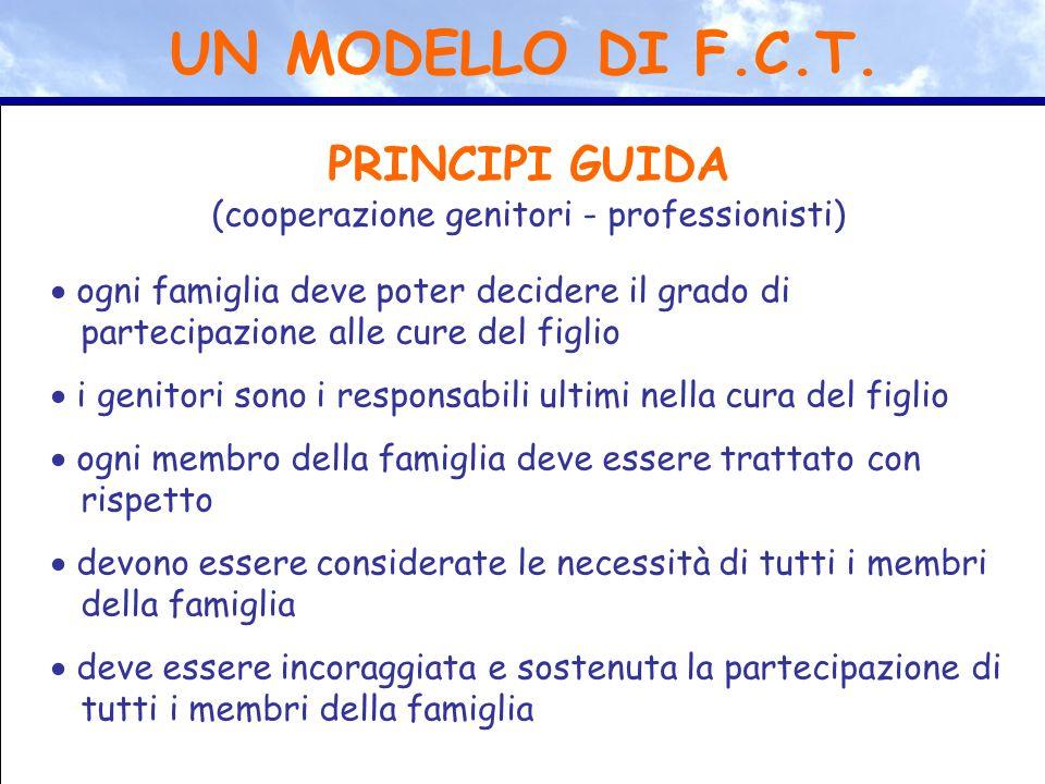 PRINCIPI GUIDA (cooperazione genitori - professionisti)  ogni famiglia deve poter decidere il grado di partecipazione alle cure del figlio  i genito
