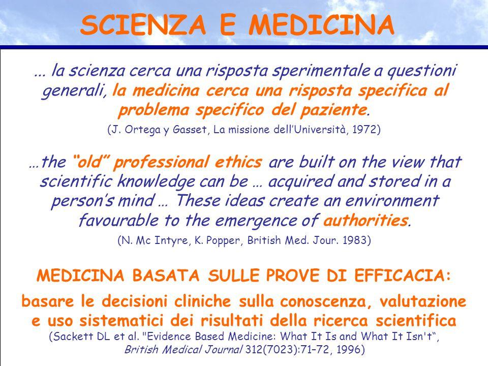 ... la scienza cerca una risposta sperimentale a questioni generali, la medicina cerca una risposta specifica al problema specifico del paziente. (J.
