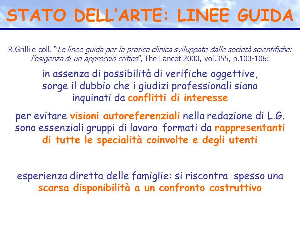 """R.Grilli e coll. """"Le linee guida per la pratica clinica sviluppate dalle società scientifiche: l'esigenza di un approccio critico"""", The Lancet 2000, v"""