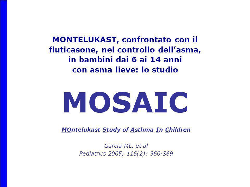 MONTELUKAST, confrontato con il fluticasone, nel controllo dell'asma, in bambini dai 6 ai 14 anni con asma lieve: lo studio MOSAIC MOntelukast Study of Asthma In Children Garcia ML, et al Pediatrics 2005; 116(2): 360-369