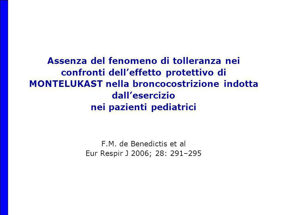 Assenza del fenomeno di tolleranza nei confronti dell'effetto protettivo di MONTELUKAST nella broncocostrizione indotta dall'esercizio nei pazienti pediatrici F.M.