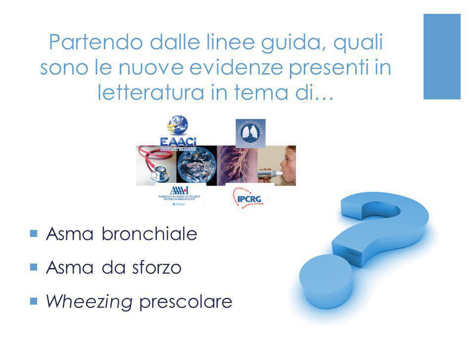 Partendo dalle linee guida, quali sono le nuove evidenze presenti in letteratura in tema di…  Asma bronchiale  Asma da sforzo  Wheezing prescolare