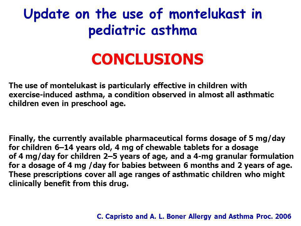 Update on the use of montelukast in pediatric asthma CONCLUSIONS The use of montelukast is particularly effective in children with exercise-induced asthma, a condition observed in almost all asthmatic children even in preschool age.