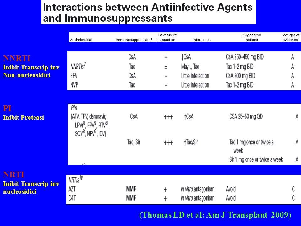 (Thomas LD et al: Am J Transplant 2009) NNRTI Inibit Transcrip inv Non-nucleosidici PI Inibit Proteasi NRTI Inibit Transcrip inv nucleosidici