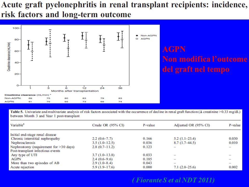 ( Fiorante S et al NDT 2011) AGPN Non modifica l'outcome del graft nel tempo